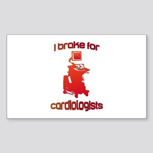 i brake for cardiologists Red Sticker (Rectangle)