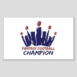 Fantasy Football Champ Crown Sticker (Rectangle)