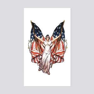 Vintage American Flag Art Rectangle Sticker