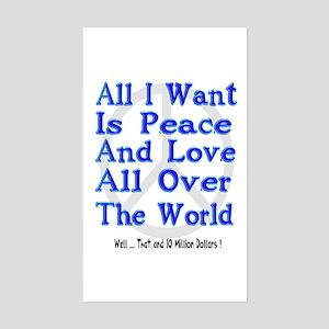 Peace, Love & Money Rectangle Sticker