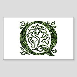 Ivy Leaf Monogram Q Rectangle Sticker
