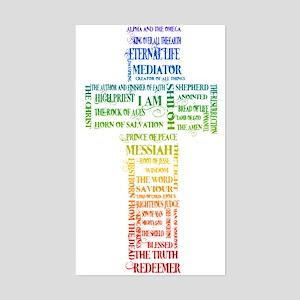 Names of Jesus Cross Sticker (Rectangle)