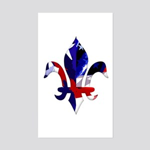Red, white & blue Fleur de lis Sticker (Rectangula