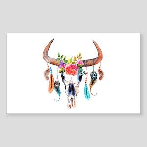 Colorful Bull Horns & Skull Flowers & Feat Sticker