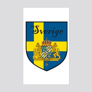 Sverige Flag Crest Shield Rectangle Sticker