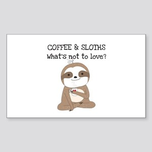 Coffee and Sloths Sticker (Rectangle)