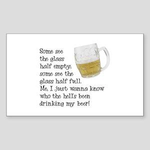 Half Glass Of Beer Rectangle Sticker