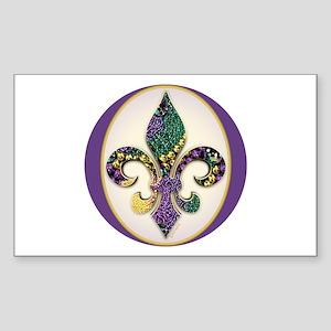 Fleur de lis Mardi Gras Beads Sticker (Rectangular