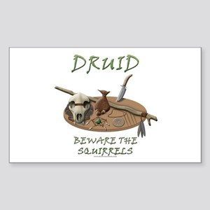 Druid - Beware the Squirrels Rectangle Sticker