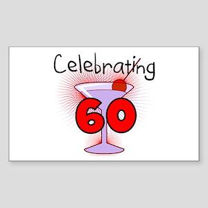 Cocktail Celebrating 60 Rectangle Sticker