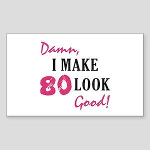 Hot 80th Birthday Rectangle Sticker
