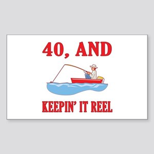 40 And Keepin' It Reel Sticker (Rectangle)
