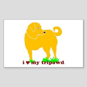 Golden Tripawd Love Sticker (Rectangle)