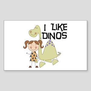 Girl I Like Dinos Sticker (Rectangle)