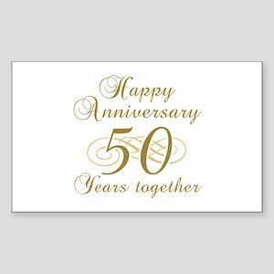 50th Anniversary (Gold Script) Sticker (Rectangle)