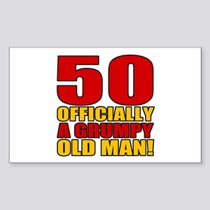 Grumpy 50th Birthday Sticker (Rectangle)