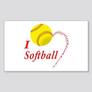 Girls softball Sticker (Rectangle)