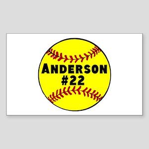 Personalized Softball Sticker (Rectangle)