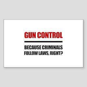 Gun Control Sticker (Rectangle)