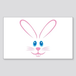 Pink Bunny Face Sticker (Rectangle)