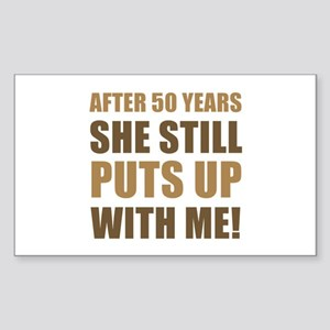 50th Anniversary Humor For Men Sticker (Rectangle)