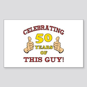 50th Birthday Gift For Him Sticker (Rectangle)