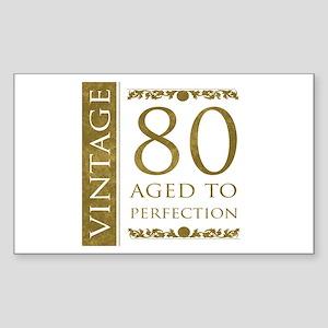 Fancy Vintage 80th Birthday Sticker (Rectangle)