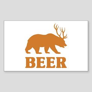 Bear+Deer=Beer Sticker (Rectangle)