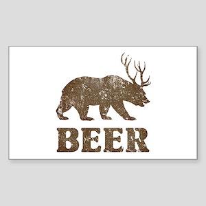 Bear+Deer=Beer Vintage Sticker (Rectangle)