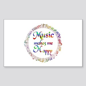 Music makes me Happy Sticker (Rectangle)
