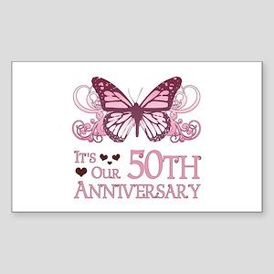 50th Wedding Aniversary (Butterfly) Sticker (Recta