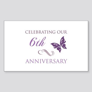 6th Wedding Aniversary (Butterfly) Sticker (Rectan