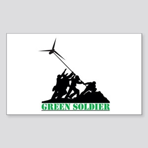 Green Soldier Wind Turbine Sticker (Rectangle)