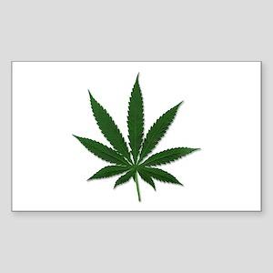 Marijuana Pot Leaf Rectangle Sticker