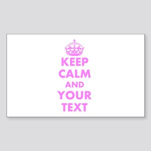 Pink Keep Calm And Carry On Sticker   Customizable