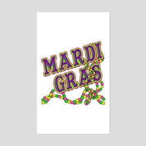 Mardi Gras in Purple and Green Sticker (Rectangle)