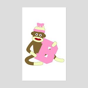 Sock Monkey Monogram Girl B Sticker (Rectangle)