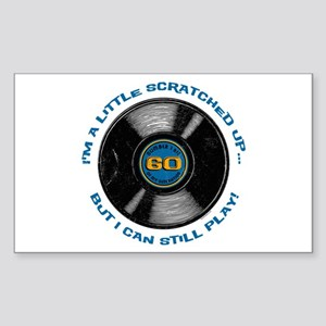 Scratched Record 60th Birthday Sticker (Rectangle)