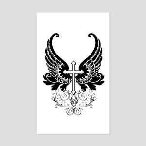 CROSS WITH WINGS Sticker (Rectangle)