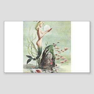 Retro Pin Up 1950s Mermaid with School of Fish Sti