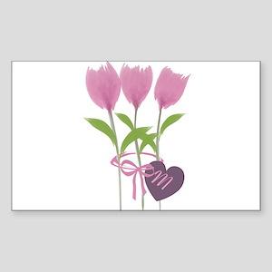 Pink Tulip Monogram Sticker (Rectangle)