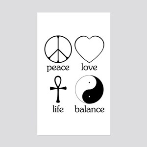Peace Love Life Balance Sticker (Rectangle)