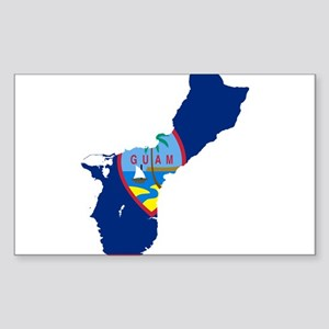 Guam Flag and Map Sticker (Rectangle)