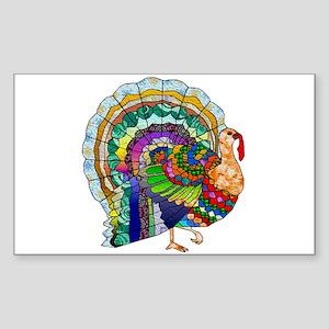 Patchwork Thanksgiving Turkey Sticker (Rectangle)