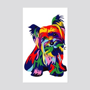 Bright Rainbow Yorkie Sticker (Rectangle)