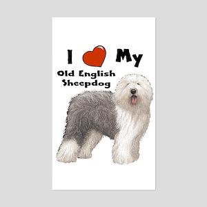I Love My English Sheepdog Rectangle Sticker