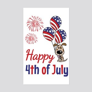Happy 4th Doggy with Balloons Sticker
