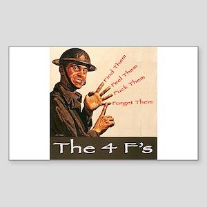 4 F's Sticker (Rect.)