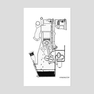 Engine Cutaway - On a Rectangle Sticker
