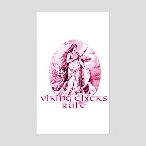 Viking Chicks Rule Rectangle Sticker